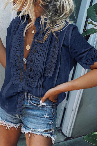 Blue Crochet Hollow-out Lace Splicing Short Sleeve Top LC2517585-5