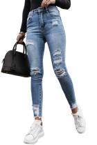 Skinny High Rise Ripped Tapered Jeans LC782159-4