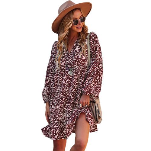 Wine Red Leopard Print Holiday Long Sleeve Dress TQK310628-23