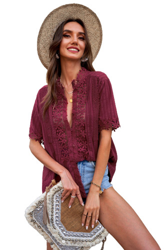 Wine Red Crochet Hollow-out Lace Splicing Short Sleeve Top LC2517585-3