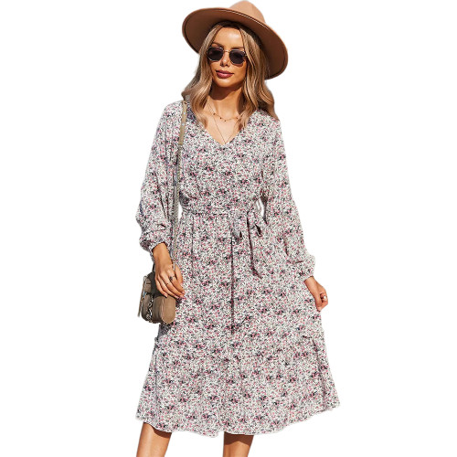 Pink Floral Print Tie Waist Long Sleeve Swing Dress TQK310629-10