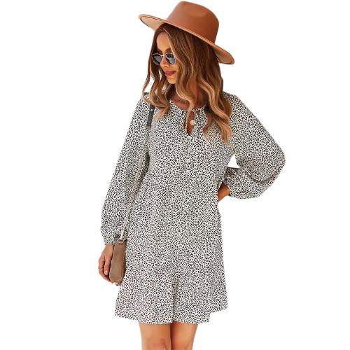 White Leopard Lace-up Loose A-line Long Sleeve Dress TQK310627-1