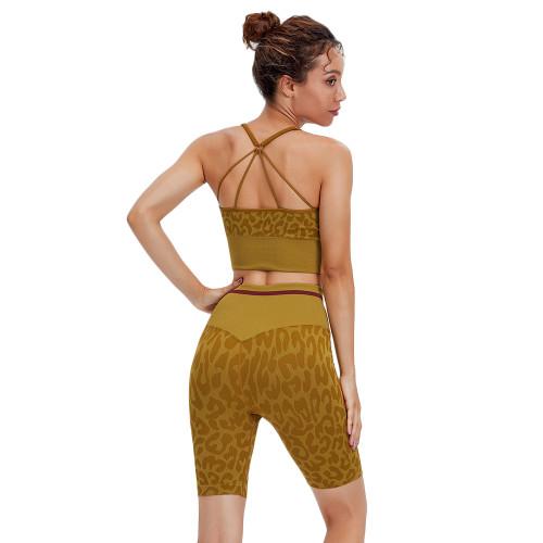Yellow Leopard Bra and Shorts Sports Yoga Set TQK710383-7