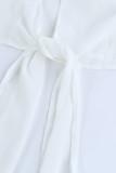 White Plus Size Balloon Sleeve Wrap Top LC2518687-1