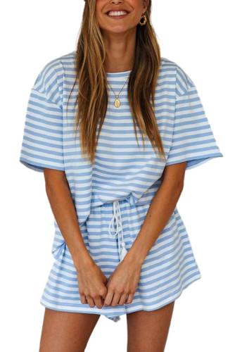 Sky Blue Stripe Print T-shirt and Elastic Waist Shorts Set LC621788-4