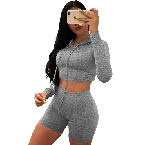 Gray Bubble Texture Crop Hoodie with Shorts Yoga Set TQK710382-11
