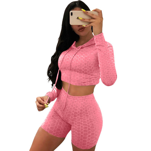 Pink Bubble Texture Crop Hoodie with Shorts Yoga Set TQK710382-10