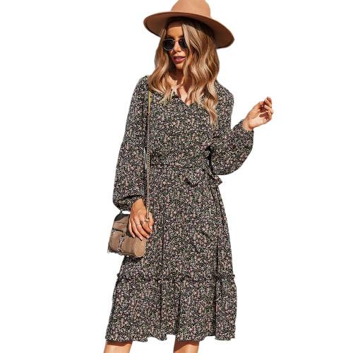 Black Floral Print Tie Waist Long Sleeve Swing Dress TQK310629-2
