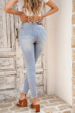 High Waist Ripped Skinny Jeans with 5 Pockets LC781968-4