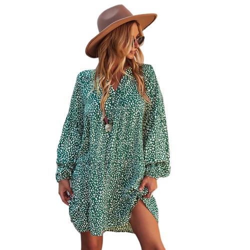 Green Leopard Print Holiday Long Sleeve Dress TQK310628-9