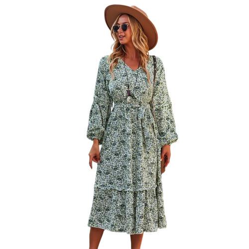 Green Floral Print Tie Waist Long Sleeve Swing Dress TQK310629-9