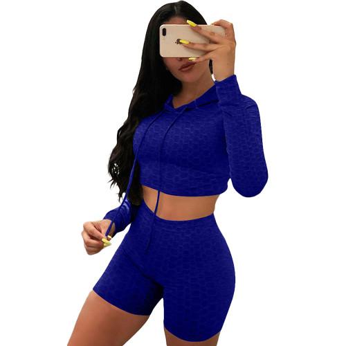 Blue Bubble Texture Crop Hoodie with Shorts Yoga Set TQK710382-5