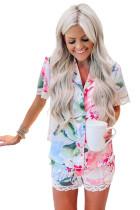 Multicolor Floral Print Lapel Button Shirt Shorts Pajamas Set LC4511362-22