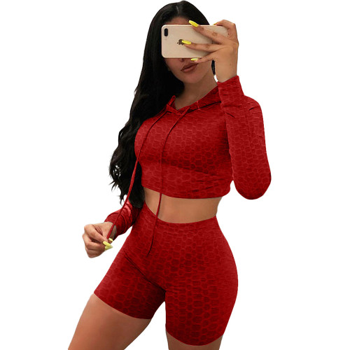 Red Bubble Texture Crop Hoodie with Shorts Yoga Set TQK710382-3