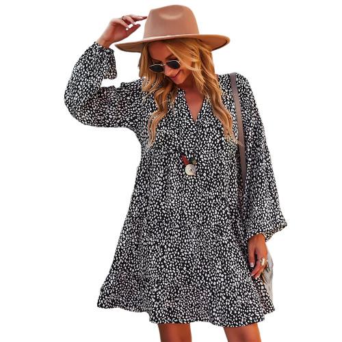 Black Leopard Print Holiday Long Sleeve Dress TQK310628-2