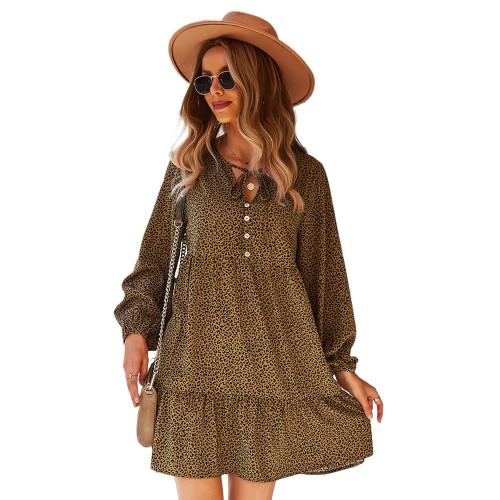 Brown Leopard Lace-up Loose A-line Long Sleeve Dress TQK310627-17