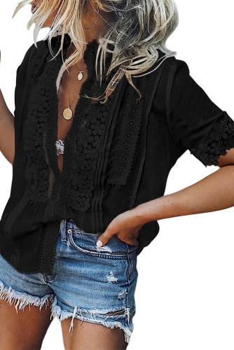 Black Crochet Hollow-out Lace Splicing Short Sleeve Top LC2517585-2