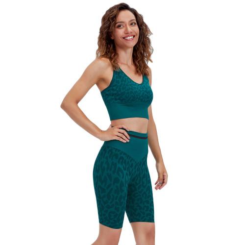 Green Leopard Bra and Shorts Sports Yoga Set TQK710383-9