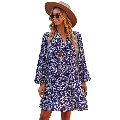 Navy Blue Leopard Print Holiday Long Sleeve Dress TQK310628-34