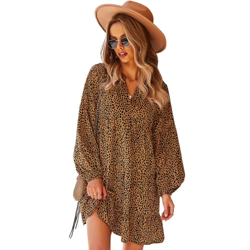 Brown Leopard Print Holiday Long Sleeve Dress TQK310628-17