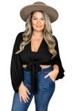 Black Plus Size Balloon Sleeve Wrap Top LC2518687-2