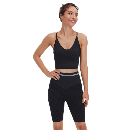 Black Leopard Bra and Shorts Sports Yoga Set TQK710383-2