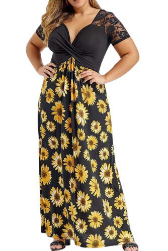 Plus Size Sunflower Lace Twist Knot Maxi Dress LC614417-2
