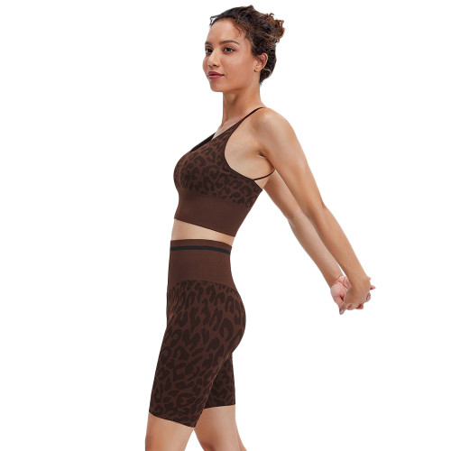 Coffee Leopard Bra and Shorts Sports Yoga Set TQK710383-15