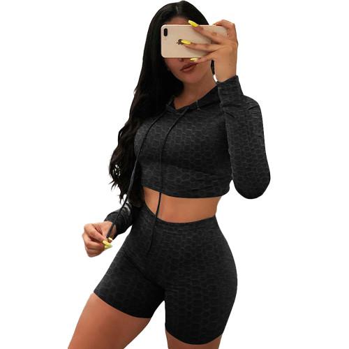 Black Bubble Texture Crop Hoodie with Shorts Yoga Set TQK710382-2