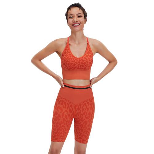 Orange Leopard Bra and Shorts Sports Yoga Set TQK710383-14