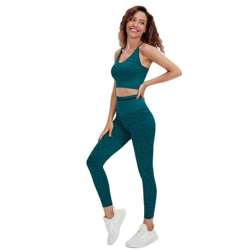 Green Leopard Bra with Pants Yoga Set TQK710384-9