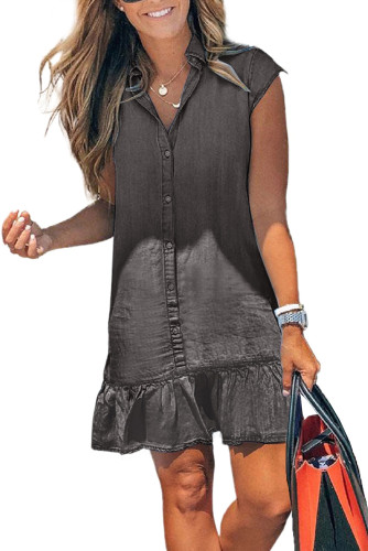 Gray Cap Sleeve Button Front Denim Mini Dress LC224775-11
