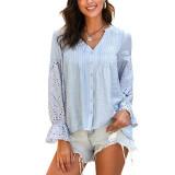 Light Blue Cotton Hollow Out Long Sleeve Shirt TQK210793-30