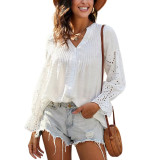 White Cotton Hollow Out Long Sleeve Shirt TQK210793-1