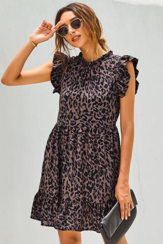 Leopard Print Ruffled Hemline Swing Dress LC221275-20