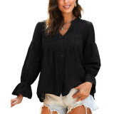 Black Cotton Hollow Out Long Sleeve Shirt TQK210793-2