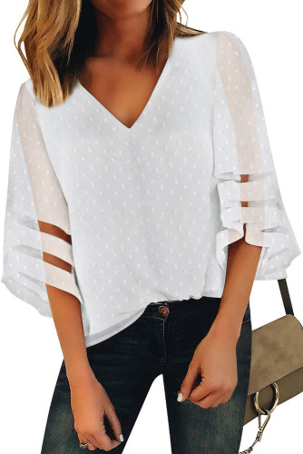 White V Neck Mesh Stripes Kimono Sleeve Swiss Dot Blouse LC2518085-1