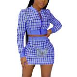 Blue Ribbed Plaid Print Jacket And Skirt Set TQK710386-5