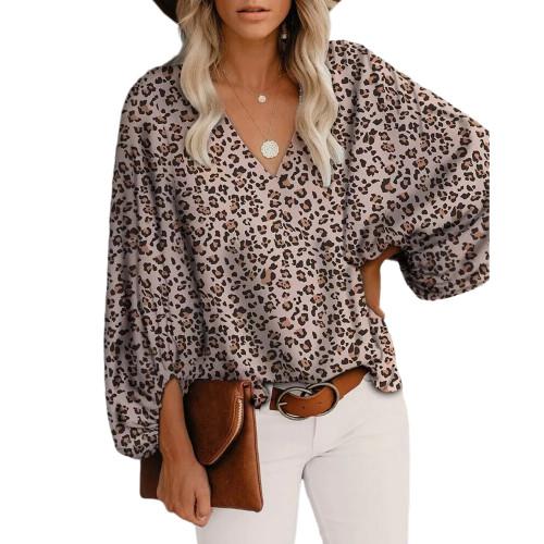 Leopard Print V Neck Lantern Sleeve Tops TQK210791-20