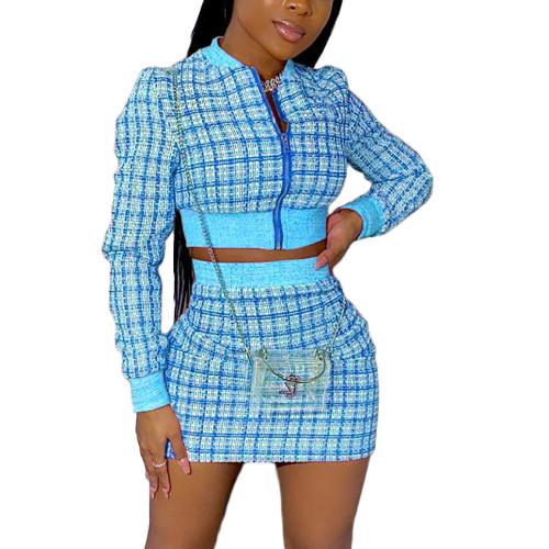 Light Blue Ribbed Plaid Print Jacket And Skirt Set TQK710386-30