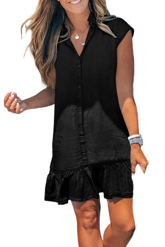 Black Cap Sleeve Button Front Denim Mini Dress LC224775-2
