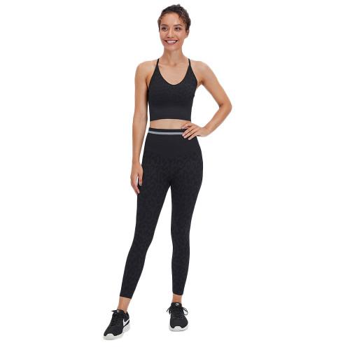 Black Leopard Bra with Pants Yoga Set TQK710384-2