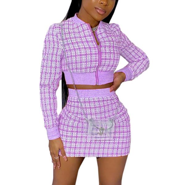 Light Purple Ribbed Plaid Print Jacket And Skirt Set TQK710386-38