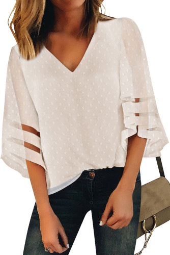 Apricot V Neck Mesh Stripes Kimono Sleeve Swiss Dot Blouse LC2518085-18