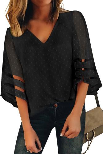 Black V Neck Mesh Stripes Kimono Sleeve Swiss Dot Blouse LC2518085-2