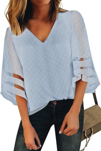 Sky Blue V Neck Mesh Stripes Kimono Sleeve Swiss Dot Blouse LC2518085-4