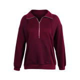 Wine Red 1/2 Zip Neck Pocket Long Sleeve Sweatshirt TQK230306-23