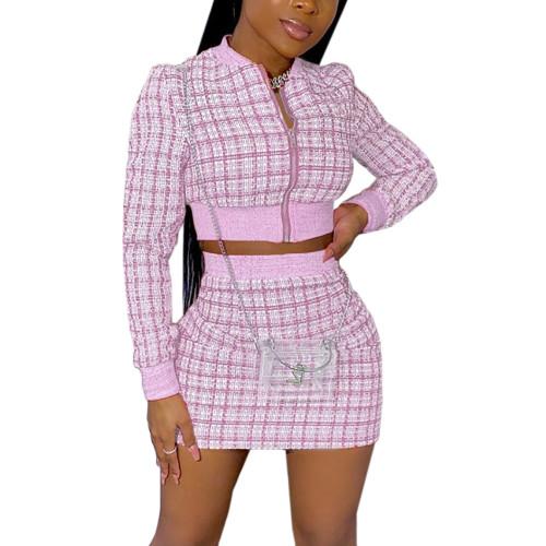 Pink Ribbed Plaid Print Jacket And Skirt Set TQK710386-10
