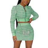 Green Ribbed Plaid Print Jacket And Skirt Set TQK710386-9