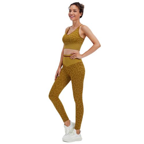 Yellow Leopard Bra with Pants Yoga Set TQK710384-7
